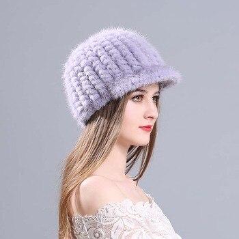 Gorro de piel de visón de invierno para mujer auténtica gorra de piña  Natural gorros rusos moda buena calidad gruesos sombreros calientes a6553a7dd59e