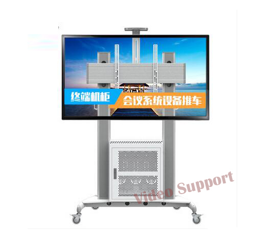 "NB AVG1800-100-1P Aluminum Mobile Workstation TV Cart With G200 AV Cabinet and AVT1800-100-1P Fit 60""-100"" Flat Panel LED LCD TV"