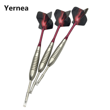 Yernea Professional Darts New 3Pcs Steel Pointed 22g Standard Hard Tip Dart Red  Aluminum Shafts Flight