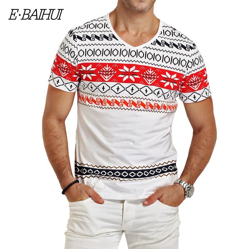 E-BAIHUI brand mens t shirts fashion printing Clothing Swag Men T-shirts Camiseta tops tees  Skate Moleton man t shirt Y026