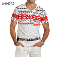 2014 Newly Arrival Snowflakes Printing Slim Casual Man T Shirt Short Sleeve Round Neck T Shirt