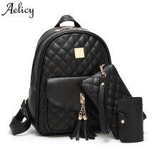 Aelicy Новинка 3 шт./компл. кисточкой кулон Обувь для девочек школьный из искусственной кожи с кисточками Для женщин рюкзак двойной молнии Для женщин сумка Винтаж рюкзак сумка