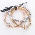 Strass charme pulseiras & bangles para mulheres rosa de ouro/prata banhado elástico cadeia de liga de zinco pulseira bijoux femme feminino