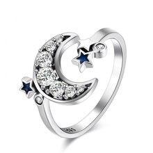 04dfd0d601fb Anillo de Plata de Ley 925 encantos con estrella azul Luna cristal anillo  abierto para la joyería de las mujeres