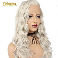 Ebingoo High Temperature Fiber Peruca Free Part Long Body Wave Platinum Blonde 613 Grey Synthetic Lace Front Wig For Women