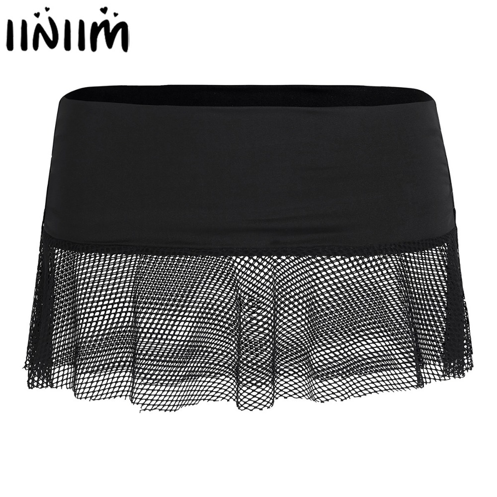 Womens Sexy Club Skirts Ladies Clothing Soft Stretch Miniskirt Transparent See-through Fishnet Hollow Out Low Rise Mini Skirt