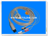 Factory price 3leads AMP 6pin one piece ecg cable AHA staradard
