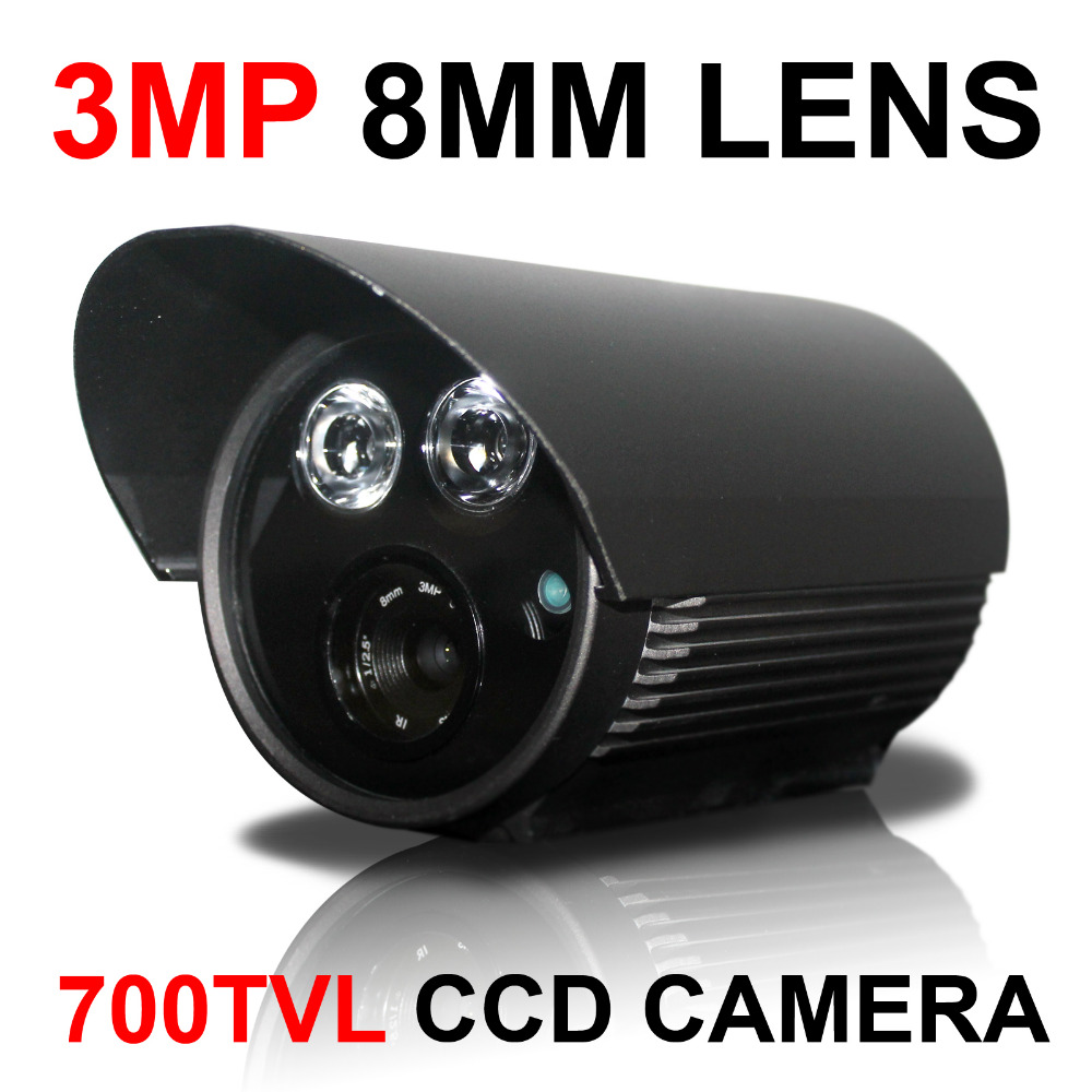 3MP 8mm lens 700TVL SONY CCD chipset dual array ir LED lamps Security Surveillance Camera 1 3mp single array leds c mount sony 600tvl lens ir cctv ccd hd waterproof camera