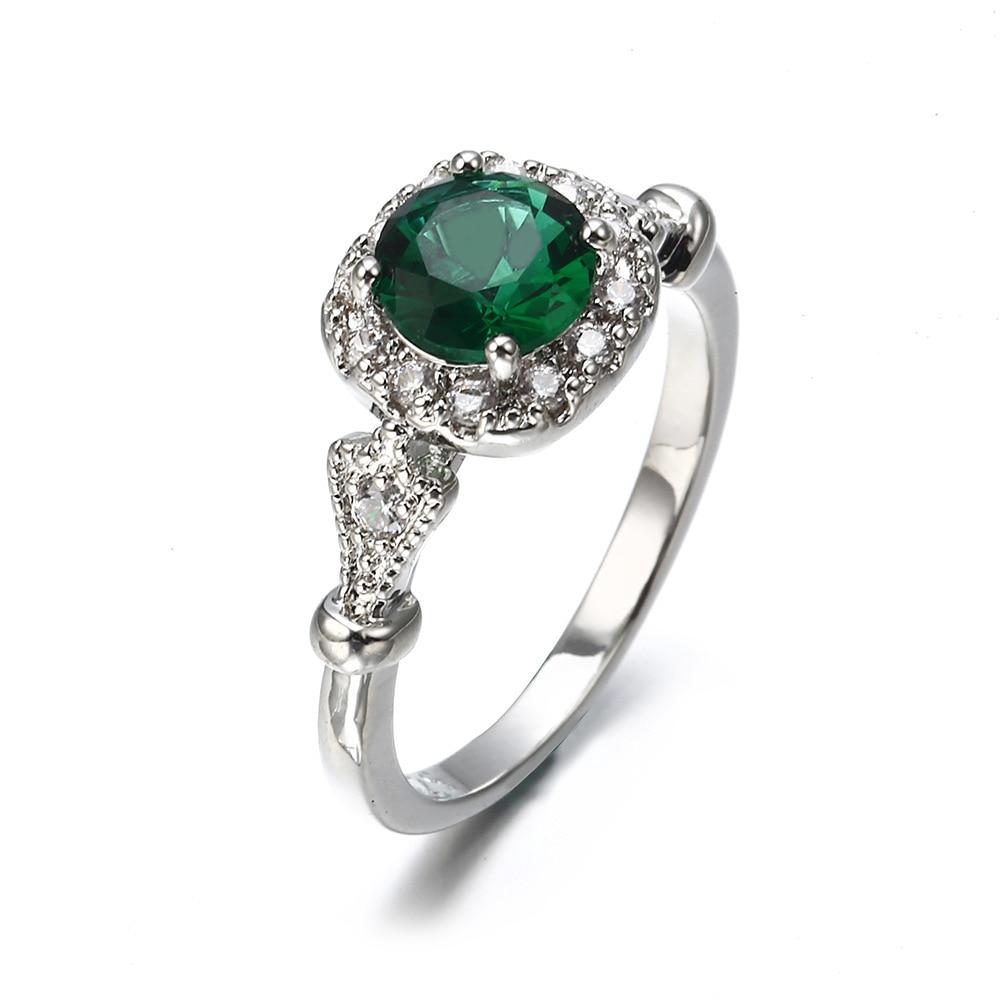Новый старинный зеленый камень кристалл обручальные кольца для женщин Серебряный цвет когти дизайн циркон элегантные свадебные браслеты п...