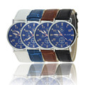 Excelente Qualidade Mens Relógios Criativo Moda Couro Strap Mens Blue Dial Homens de Negócios Relógios de Quartzo Analógico Relógios Casuais