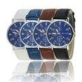 Mens Relojes Correa de Cuero de la Moda Creativa de excelente Calidad Para Hombre Azul Dial Relojes de Cuarzo Analógico Casual Hombres de Negocios Relojes