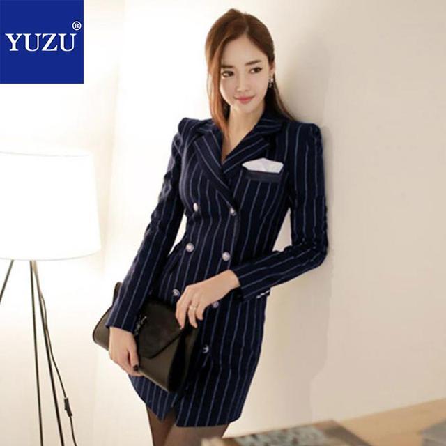 Business Dress Clothes Fashion Office Work Wear Dark Blue Stripes