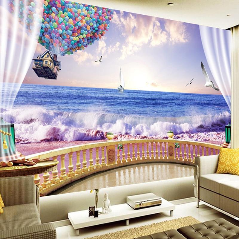 Beautiful Sunset Sea Wave Hot Balloon Photo Wall Mural Living Room TV Backdrop Wall Paper 3D Non-Woven Wallpaper Papel De Parede