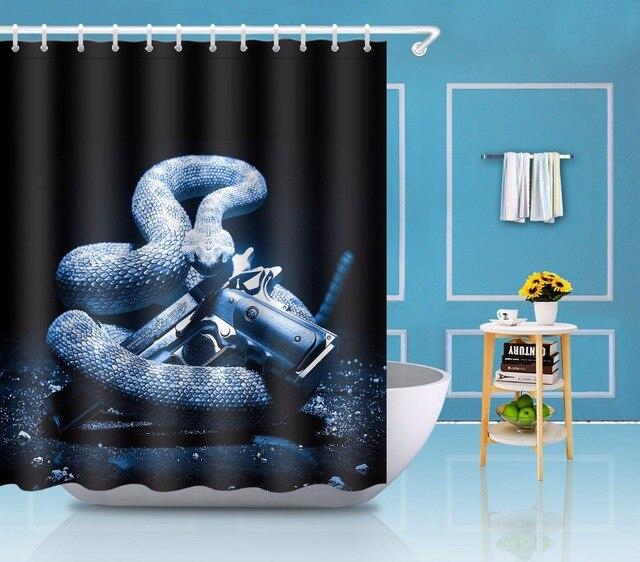 Snake And Gun Weapean Bathroom Shower Curtain Waterproof Polyester 12 Hooks Bath Curtains Accessory Set