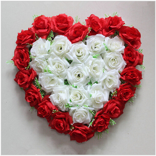 New Heart Shaped Rose Flower Disk Silk Love Wedding Decoration