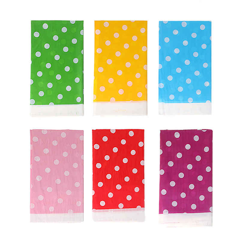 Disposable Birthday Party Table Cloth Dots Spot Waterproof One-off Plastic Table Cover Birthday Party Tablecloth 180 X108 Cm