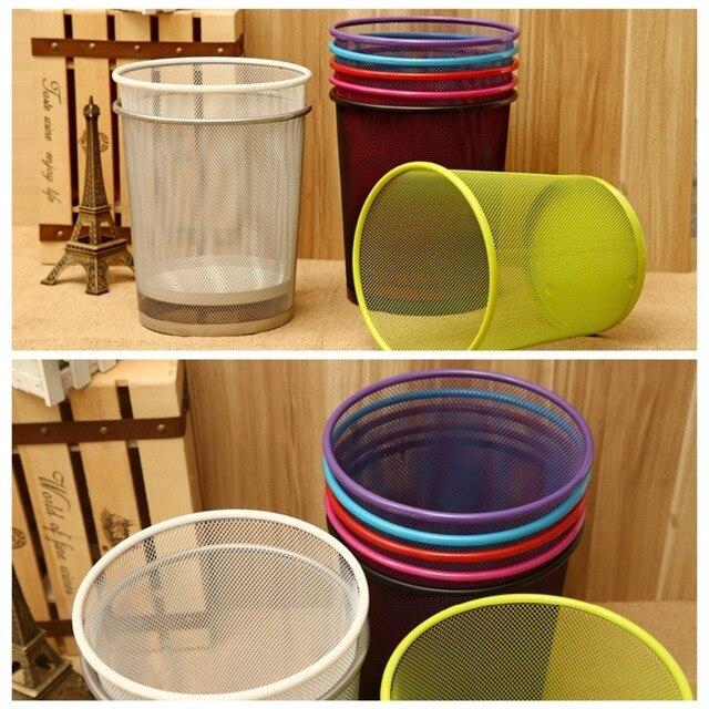 New Premier Colourful Metal Mesh Waste Paper Basket Bedroom Office Rubbish  Bin 6Colors