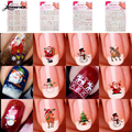 Cute 12 style in 1 nail art sticker Christmas 3D Nail Art Stickers Snowflakes Snowmen Nail Decals M02876