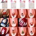 Lindo 12 en 1 estilo nail art sticker Muñecos de Nieve Copos de Nieve de Navidad 3D Pegatinas Del Arte Del Clavo Etiquetas Del Clavo M02876