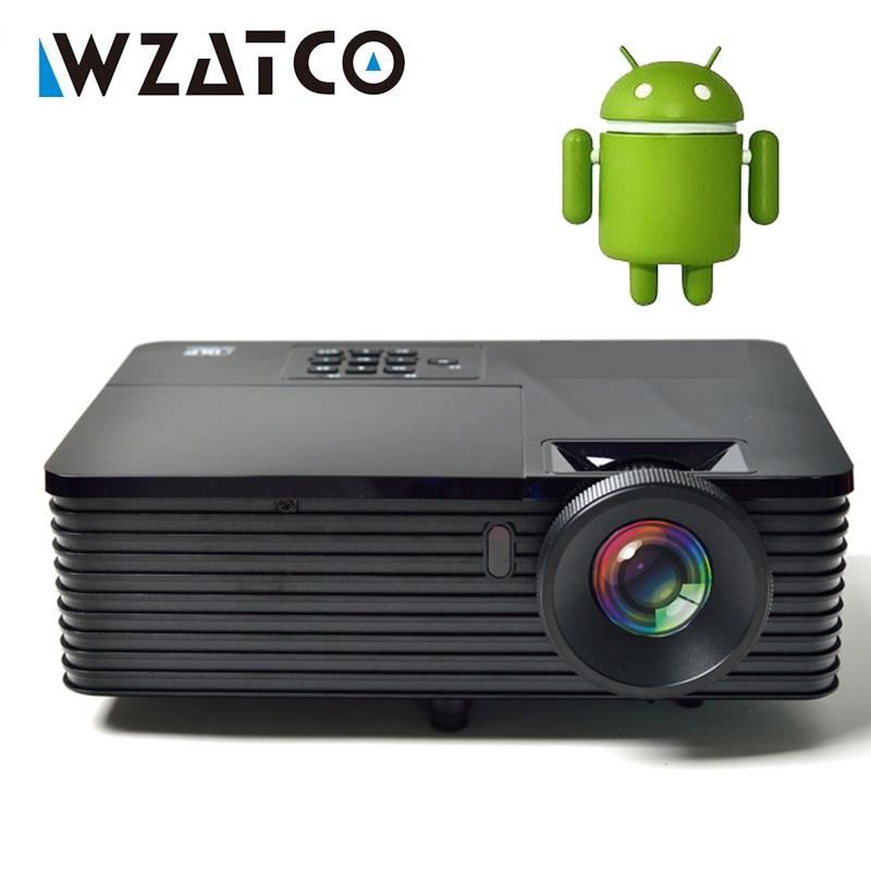 WZATCO 6000 lumens HDMI USB Android 7.1.2 WiFi Smart Dati Mostrano 1080 P 3D Proiettore DLP Daylight HD Beamer Proyector per la Riunione
