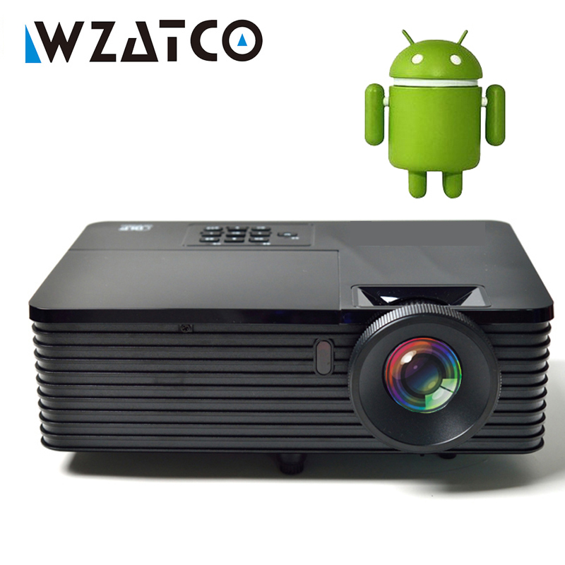 WZATCO 6000lumen Android 9.0 WiFi Smart Data Show 1080P 3D DLP Projector 300inch Daylight Full HD Beamer Proyector for Meeting