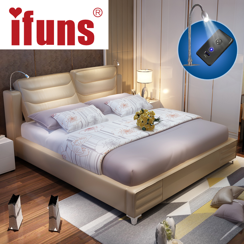 IFUNS Luxury Bedroom Furniture Sets Queen Size Modern Genuine Leather  Storage Double Bed Frame LED Night USB Charge Soft Bed