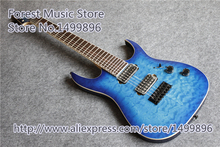 China Custom Shop Blue Quilted Finish Jackson Electric Guitar 7 String Mahogany Body For Sale