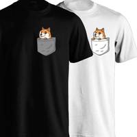 DOGE Pocket T Shirt Men Dog Cute Funny Short Sleeve Casual Printed Tee US Plus Size