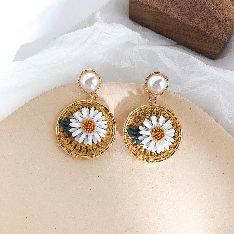 Dominated Braided Earrings Pearl Circular Vintage-Style Flower Geometric Metal Women