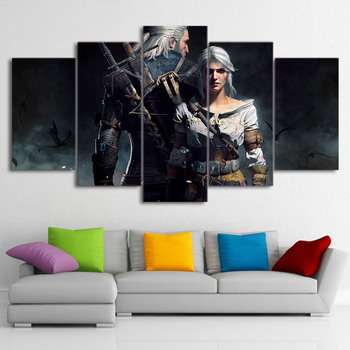 Framework Canvas Painting Poster For Living Room 5 Panel Witcher Wild Hunt Game Wall Art Home Decor Modern HD Printed Pictures