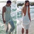 2016 Fashion Women Sexy Summer Beach Dress Tunic Chiffon White Backless Maxi Long Dresses Bikini Boho Sun Dress Beachwear