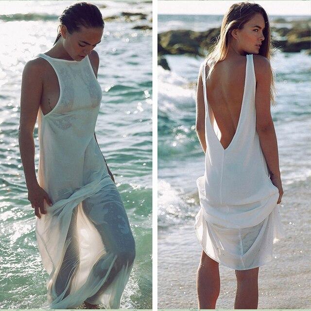 027105772d Fashion Women Sexy Summer Beach Dress Tunic Chiffon White Backless Maxi  Long Dresses Bikini Boho Sun