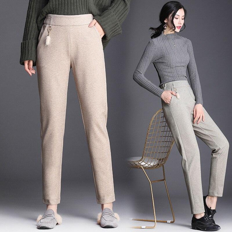 Pantalones harem de lana Pantalones de mujer 2019 otoño e invierno nuevo elástico de alta cintura moda salvaje casual Pantalones de mujer pantalones