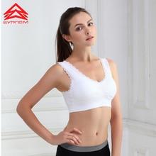 Syprem Women Sports Bra Gather Lace Wireless Underwear Shape Adjusted Yoga Vest Large Size 3XL Free High Quality,SY0005
