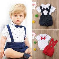 Conjunto de ropa de niño recién nacido, 2 uds., mono con pajarita, camiseta, Tops + Pantalones de Caballero, traje Formal para bebé, trajes de fiesta