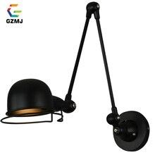 GZMJ, lámpara de LED de pared ajustable de brazo largo para decoración Industrial, lámpara de pared de Metal retro, lámpara retráctil E14 para Bar, dormitorio, estudio