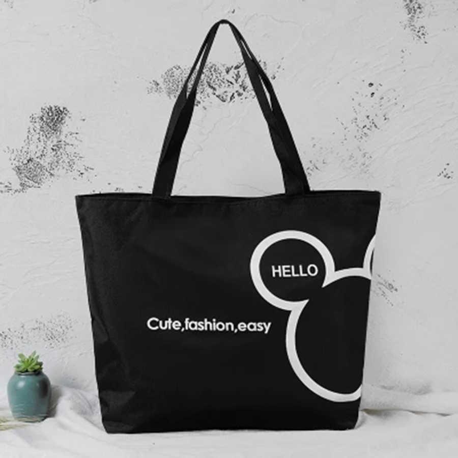 Bolso de compras de lona para mujer, bolso de mano informal con estampado de tela Oxford, bolso para compras Grandes Bolsas respetuosas con el medio ambiente, Bolsas de compra 5Z19