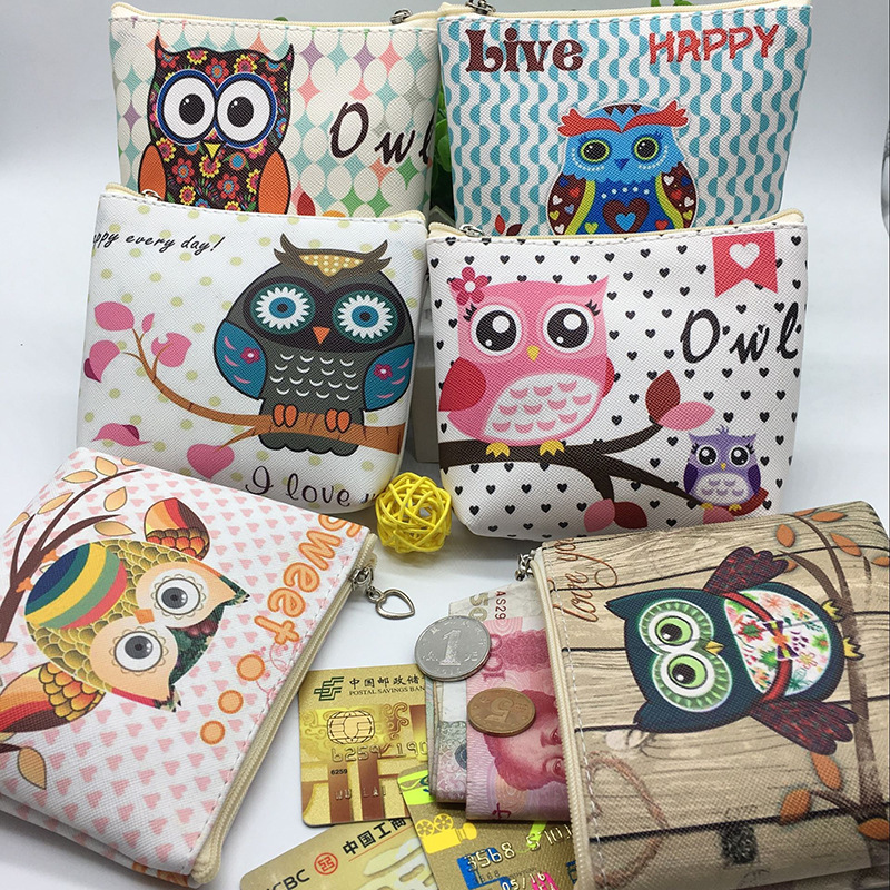 New Unisex Men Women PU Leather Zipper Coin Purse For Kids Cute Owl Small Coin Wallet Pouch Girls' Kawaii Animal Card Key Bag 2017creative cute cartoon coin purse key chain for girls pu leather icecream cake popcorn kids zipper change wallet card holder
