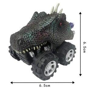 Image 3 - Venda quente mini dinossauro modelo de carro de brinquedo das crianças dinossauro puxar para trás carro de brinquedo tyrannosaurus carro figura de ação brinquedos presentes de natal