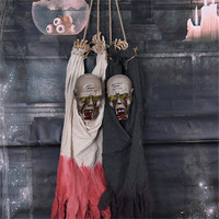 Halloween Decorations Hanging Bald Head Ghost Ornaments Electric Ghost Doll Scary Eyes Glowing Make Creepy Sound Halloween Decor