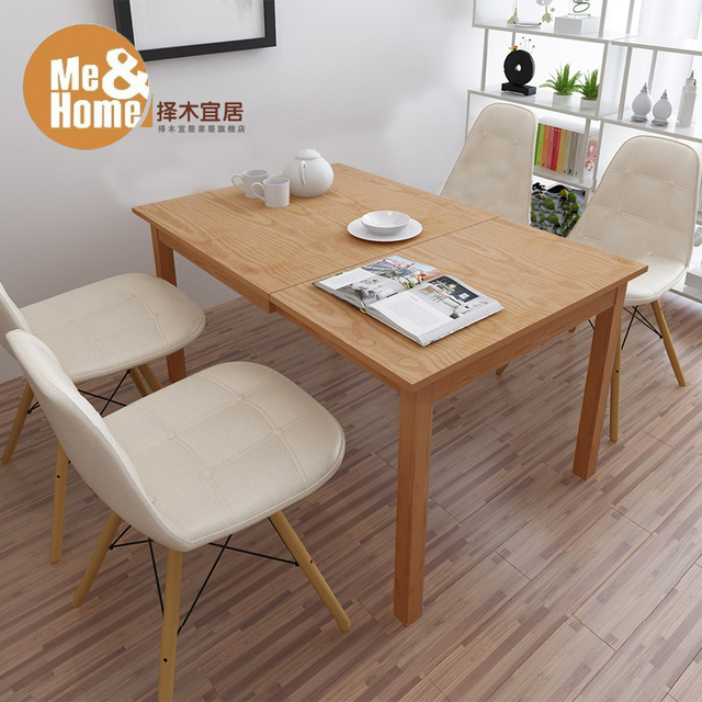 Greener Livable Small Apartment Modern Minimalist Wood Folding Tables  Stretching Deformation Dining Table Multifunctional