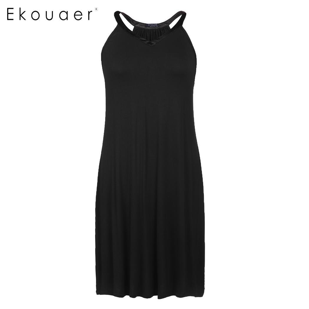 Ekouaer Women Summer Sexy Nightie Sleepwear Plus Size Nightgown Solid V-Neck Sleeveless Slip Night Dress Female Home Clothing  1