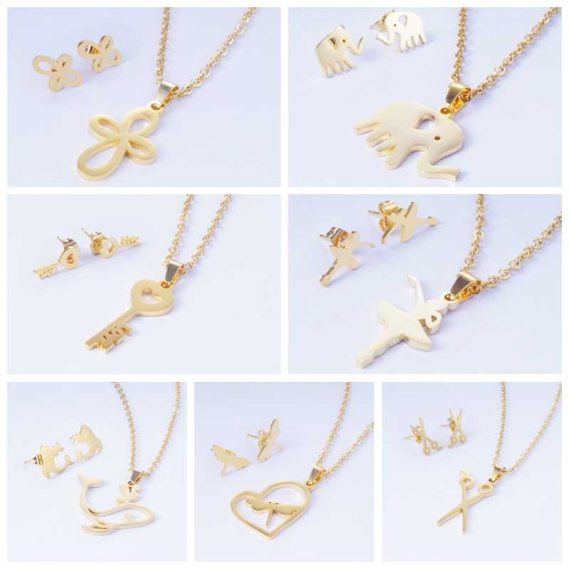 Yunkingdom 15 Different Style Lovely Elephant Key Stainless Steel Pendant Necklace Set Earrings for Women Turkish Jewelry Sets