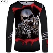 KYKU Skull Long Sleeve Tshirt Women Metal T-shirt Punk Rock 3d T Shirt Gothic Anime Womens Clothing New Summer Long Sleeve Shirt стоимость
