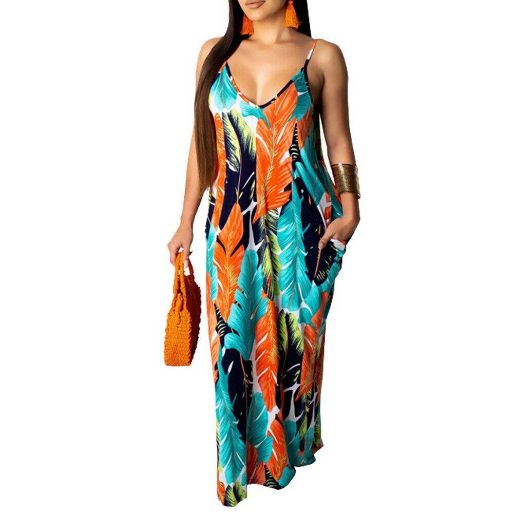 2019 Newest Hot Women's Summer Boho Floral Long Maxi Evening Party Beach Dress Floral Sleeveless V Neck Sundress 7