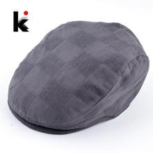 Moda enarboló el casquillo para los hombres y las mujeres Primavera Verano  Plaid Boinas sombreros Unisex f628a1fab38