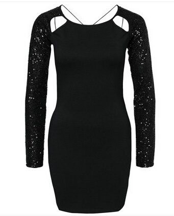 fashiong women Paillette patchwork cutout slim black dress sexy tight  fitting cross hip slim dress XS XXL free shipping-in Dresses from Women s  Clothing on ... 9fbf92ff04f2