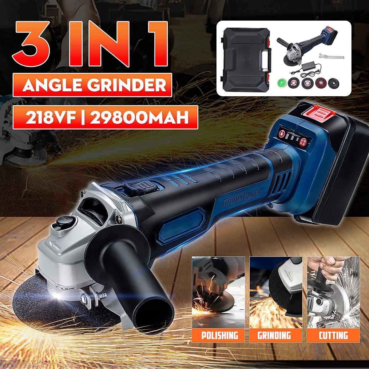Rechargeable Cordless Brushless Electric 218VF 29800mAh Angle Grinder with 5pcs Polishing Ginding Cutting Disc for WoodworkingRechargeable Cordless Brushless Electric 218VF 29800mAh Angle Grinder with 5pcs Polishing Ginding Cutting Disc for Woodworking
