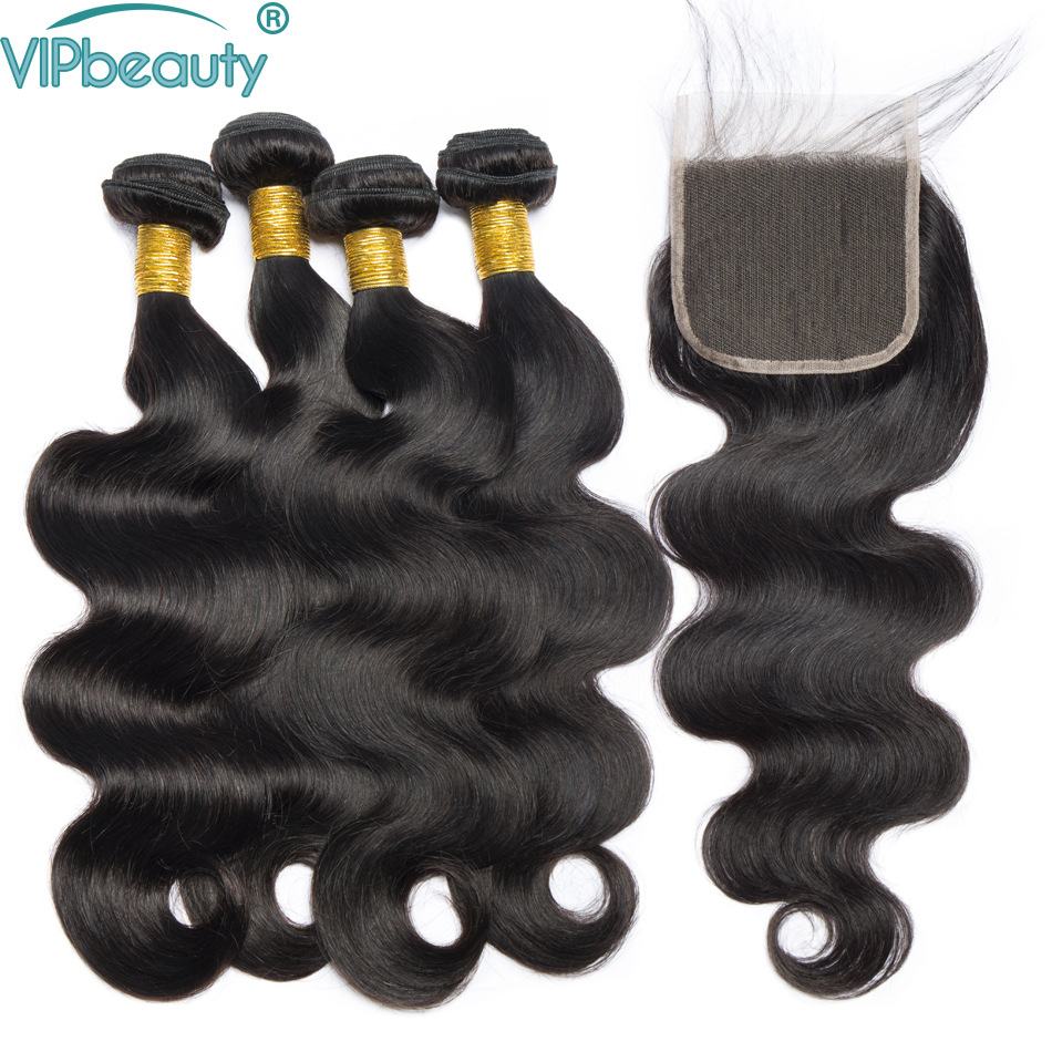 Vipbeauty Human Hair Bundles with Closure Malaysian Body Wave Hair Weave Bundles Non remy Hair Extension