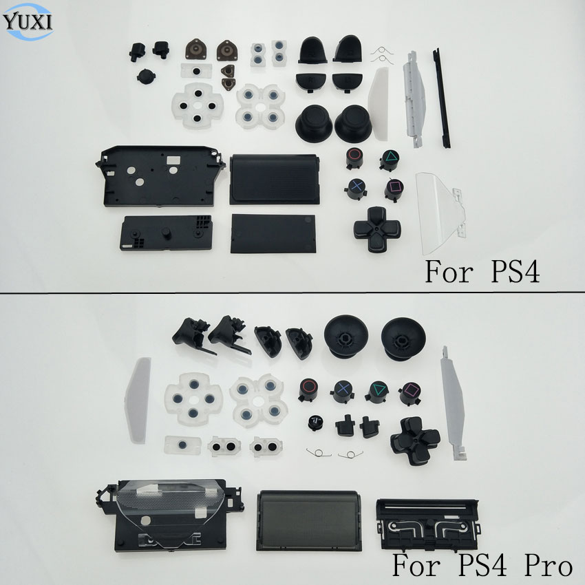YuXi Full Housing Conductive Adhesive & D-Pad Circle Square Triangle X Button Set For Sony Playstation 4 PS4 Pro Controller